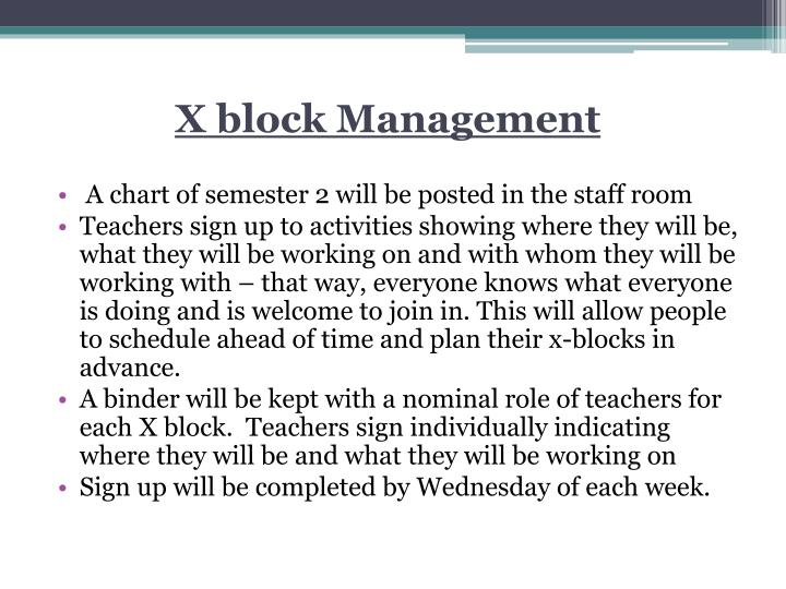 X block Management