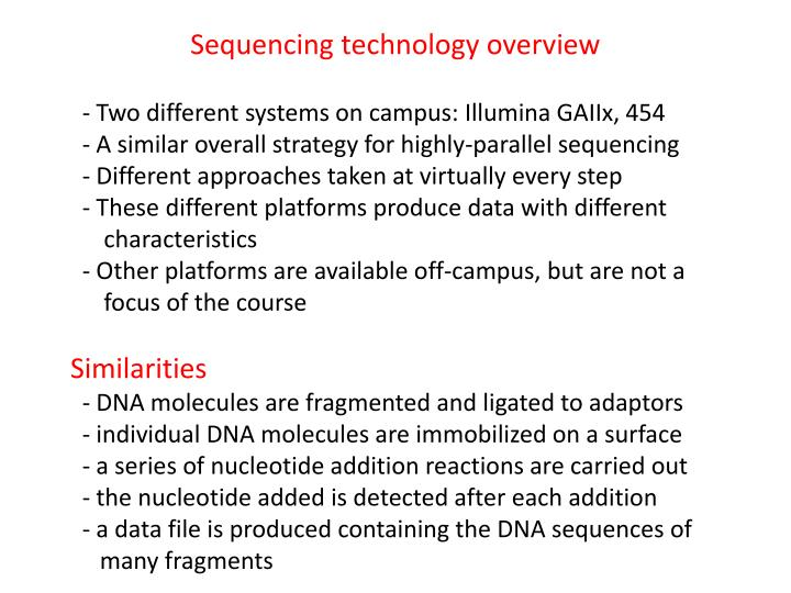 Sequencing technology overview