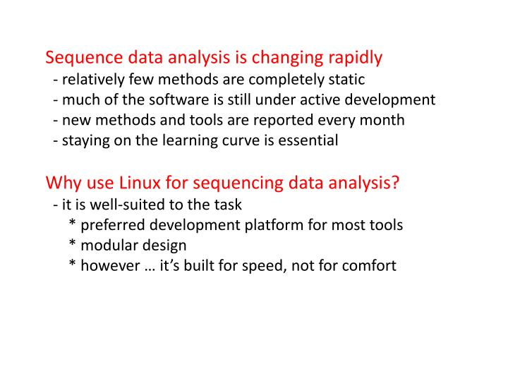 Sequence data analysis is changing rapidly