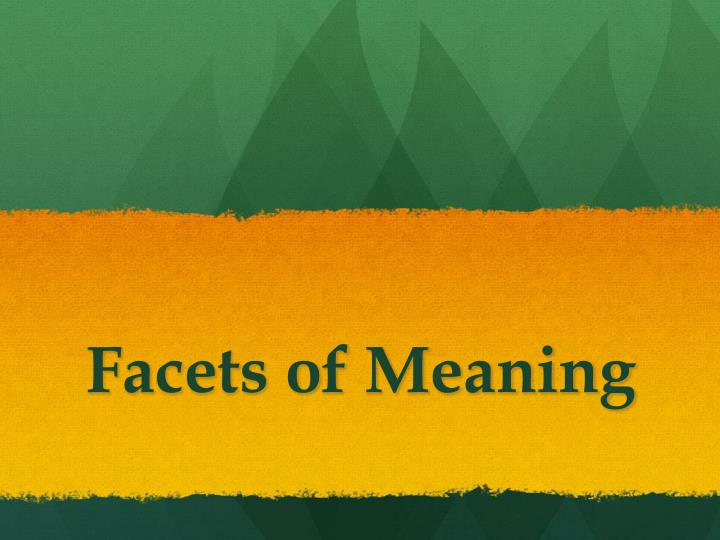 Facets of Meaning
