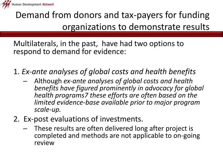 Demand from donors and tax-payers for funding organizations to demonstrate results