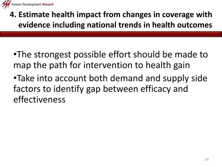 4. Estimate health impact from changes in coverage with evidence including national trends in health outcomes