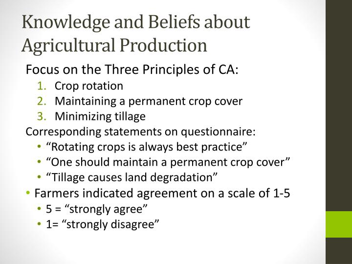 Knowledge and Beliefs about Agricultural Production