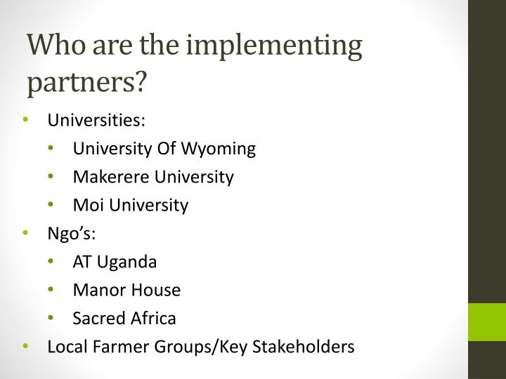 Who are the implementing partners?