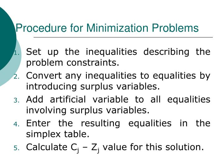 Procedure for Minimization Problems