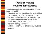 decision making routines procedures