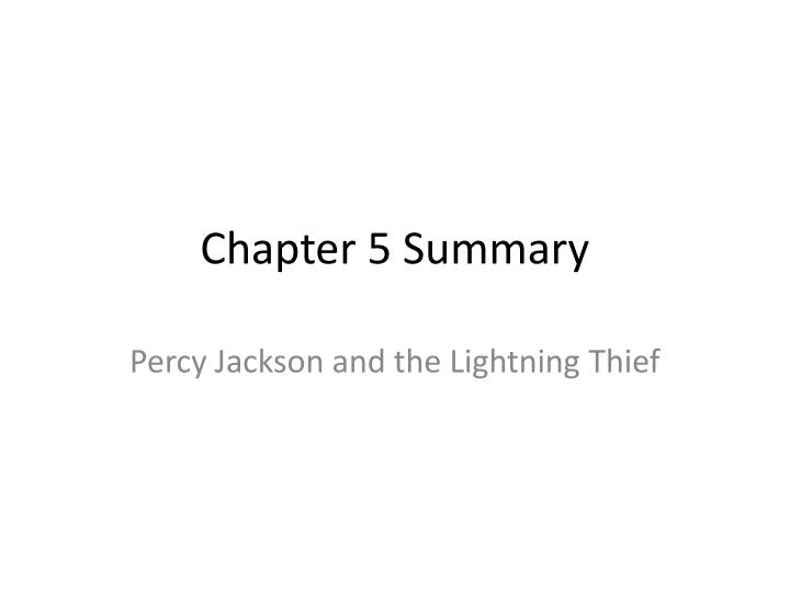 chapter 5 summary n.