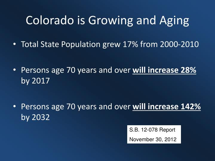 Colorado is Growing and Aging