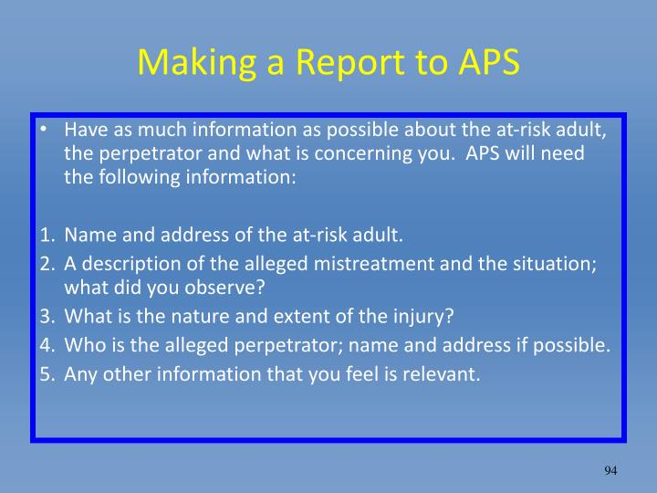 Making a Report to APS