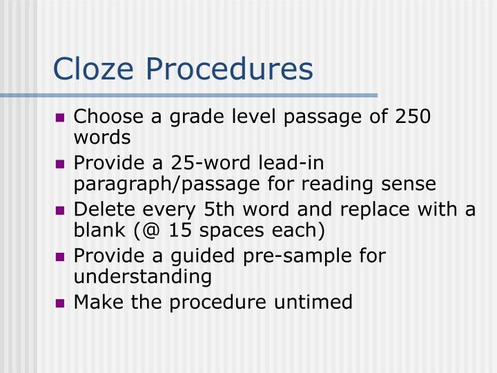 Cloze Procedures