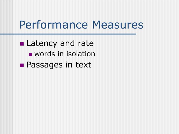 Performance Measures
