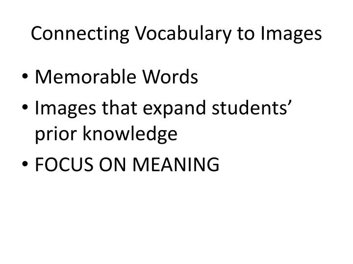 Connecting Vocabulary to Images