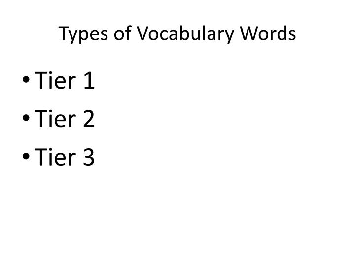 Types of Vocabulary Words