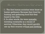 hunter gatherer societies