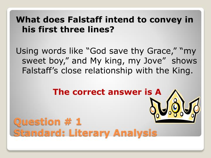 What does Falstaff intend to convey in his first three lines?
