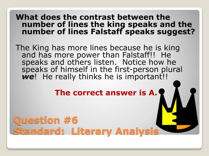 What does the contrast between the number of lines the king speaks and the number of lines Falstaff speaks suggest?