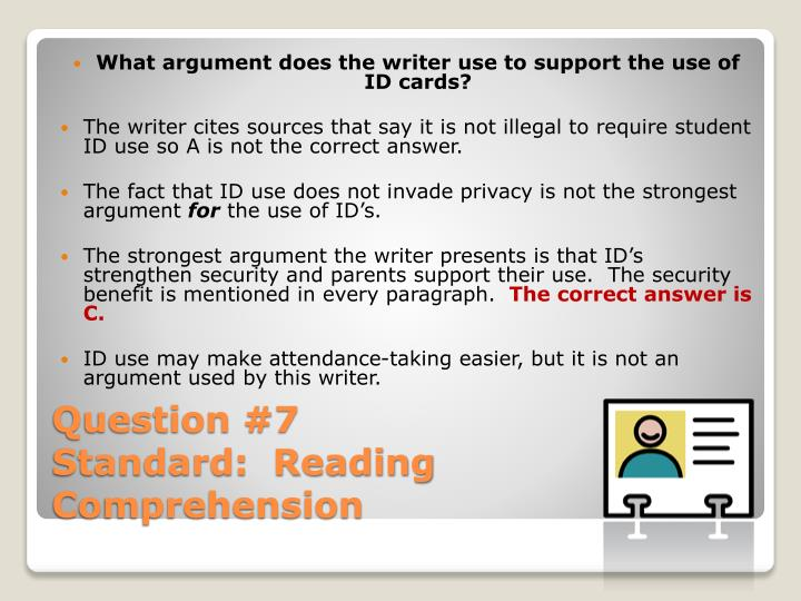 What argument does the writer use to support the use of ID cards?