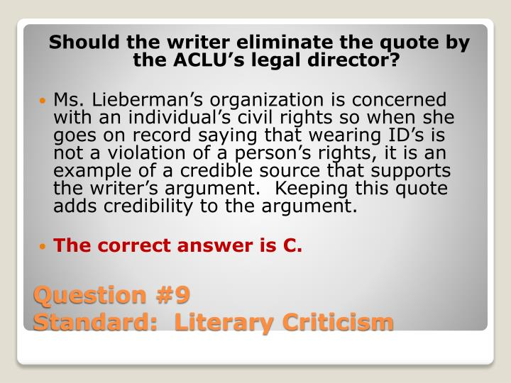 Should the writer eliminate the quote by the ACLU's legal director?