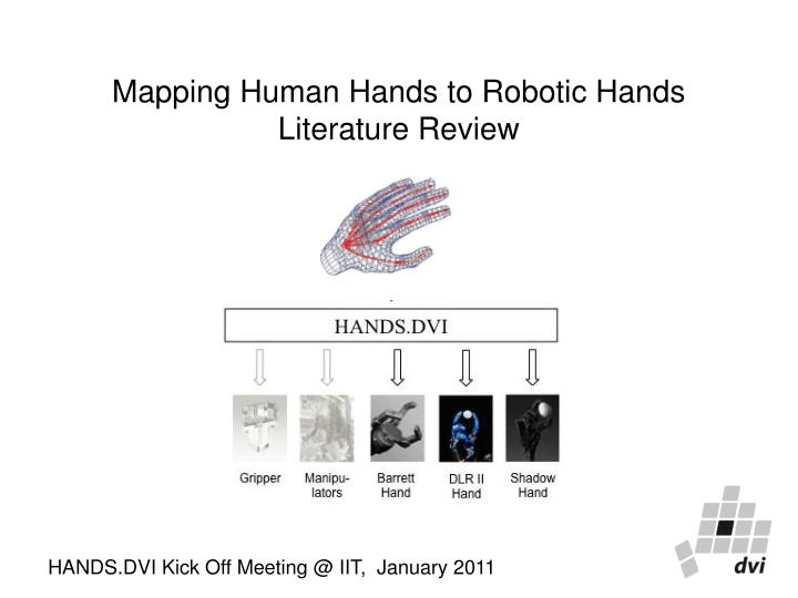 mapping human hands to robotic hands literature review n.