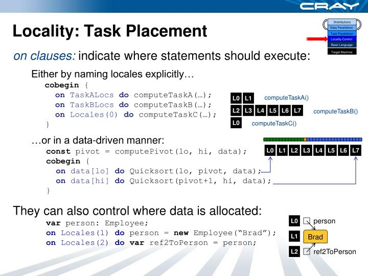 Locality: Task Placement