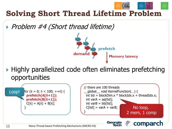Solving Short Thread Lifetime Problem
