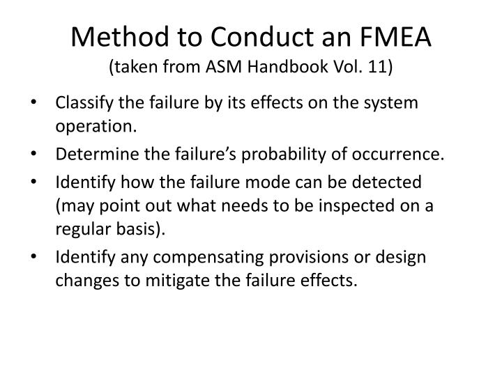 Method to Conduct an FMEA