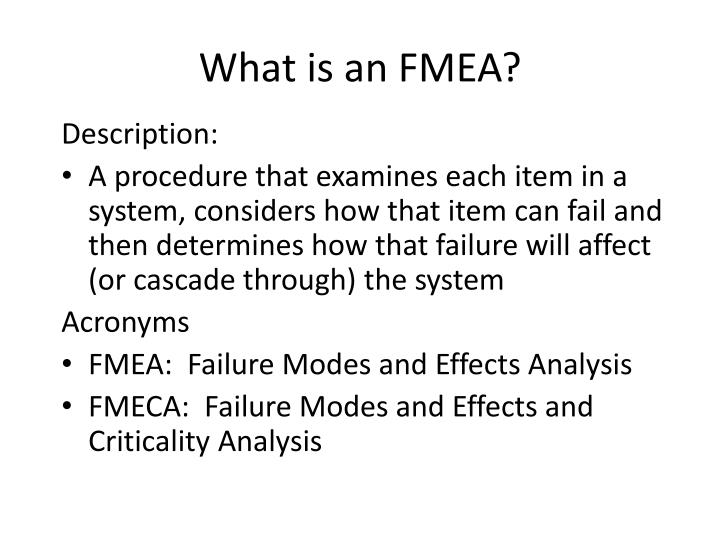 What is an fmea