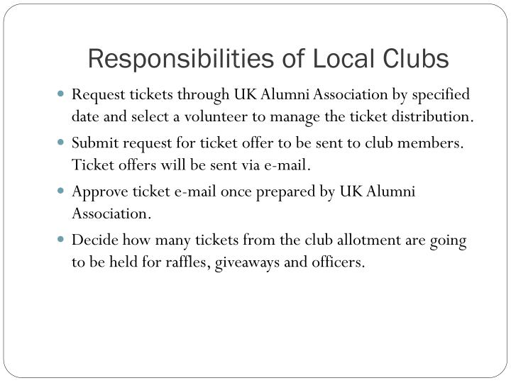 Responsibilities of Local Clubs