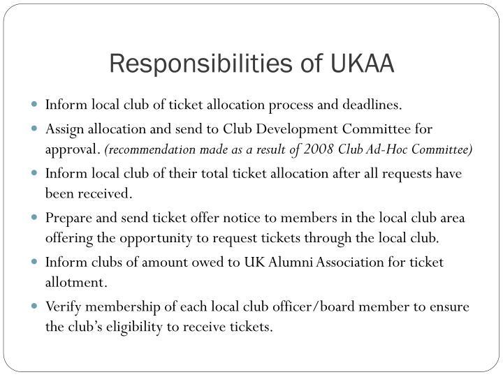 Responsibilities of UKAA