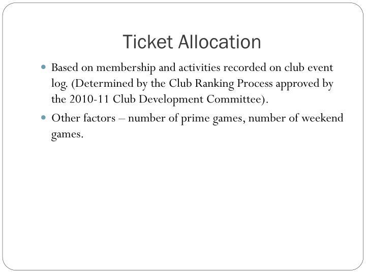 Ticket Allocation