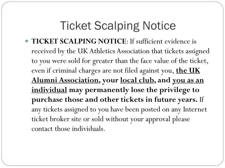 Ticket Scalping Notice