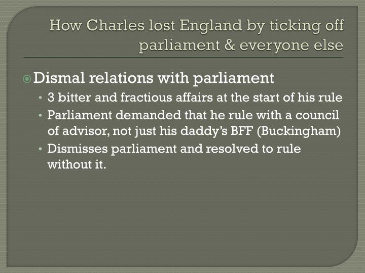 How Charles lost England by ticking off parliament & everyone else