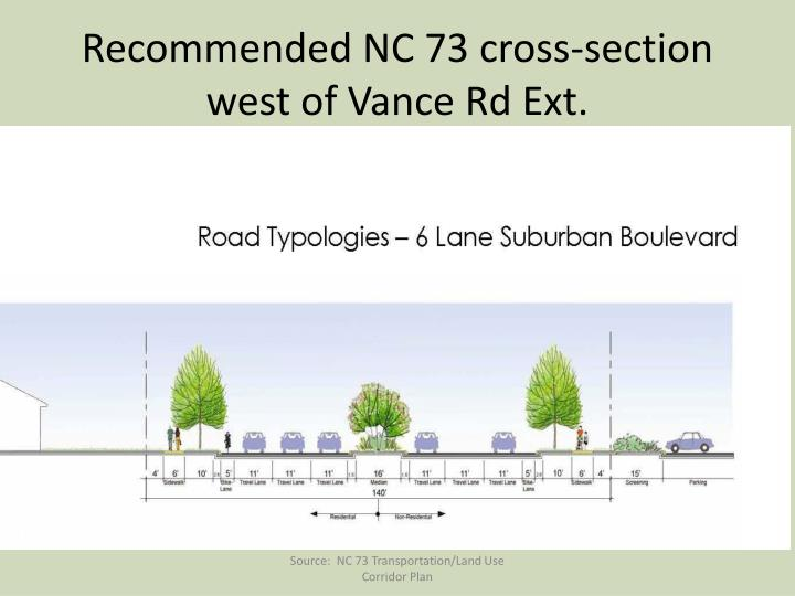 Recommended NC 73 cross-section