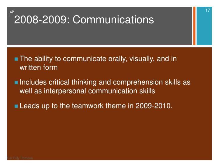 2008-2009: Communications