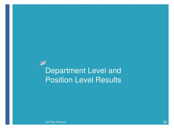 Department Level and Position Level Results