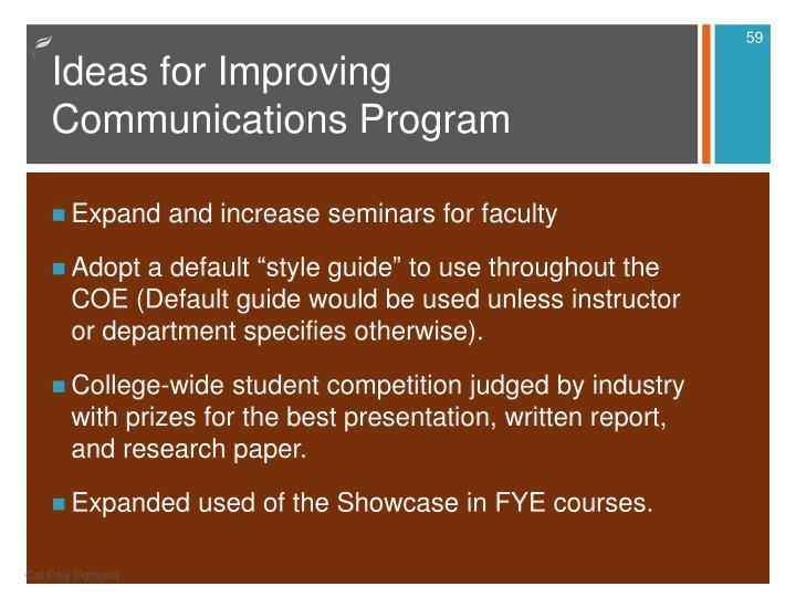 Ideas for Improving Communications Program