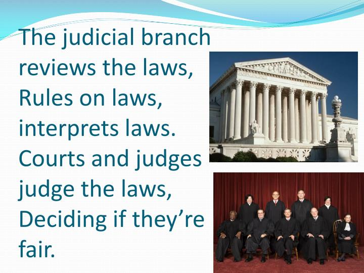 The judicial branch reviews the laws,