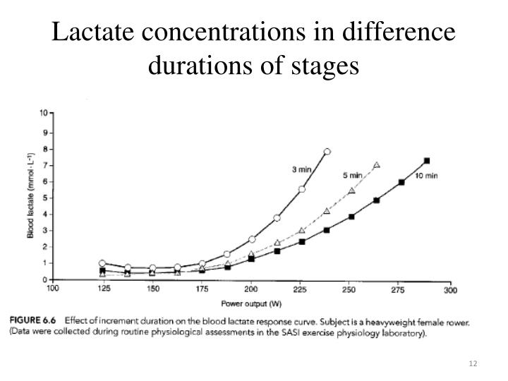 Lactate concentrations in difference durations of stages