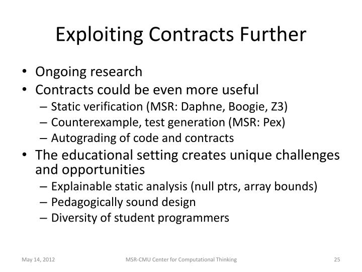 Exploiting Contracts Further