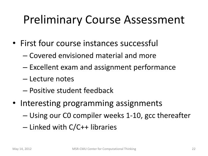 Preliminary Course Assessment
