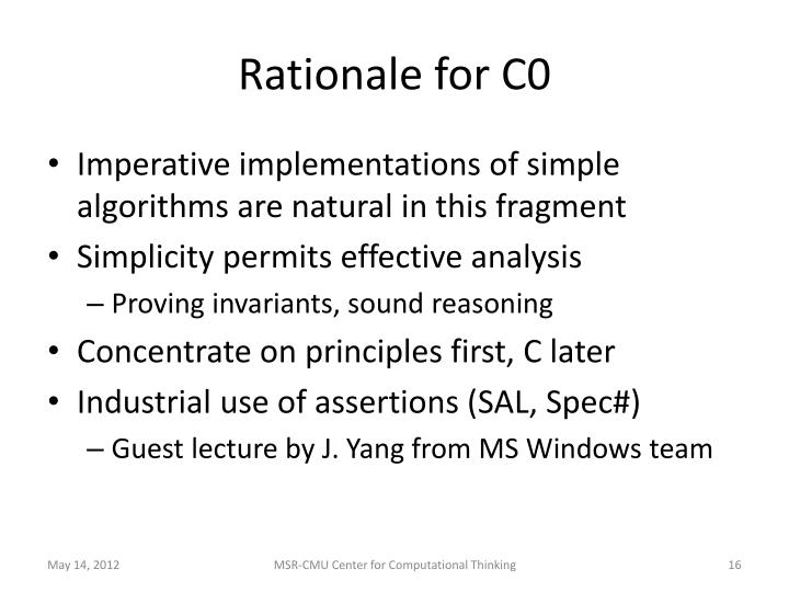 Rationale for C0
