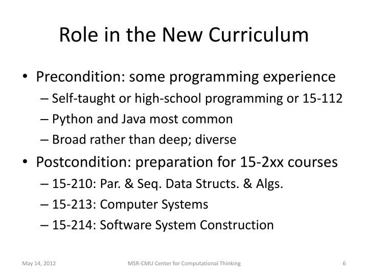 Role in the New Curriculum