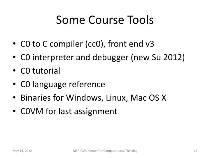Some Course Tools