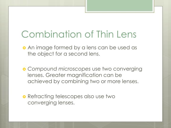 Combination of Thin Lens