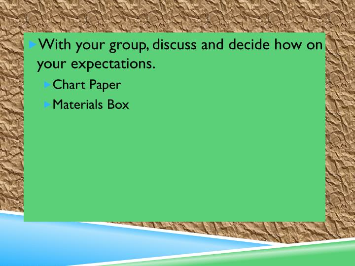 With your group, discuss and decide how on your expectations.