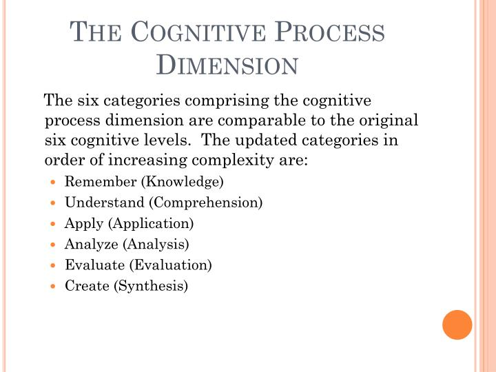 The Cognitive Process Dimension