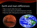 earth and mars differences