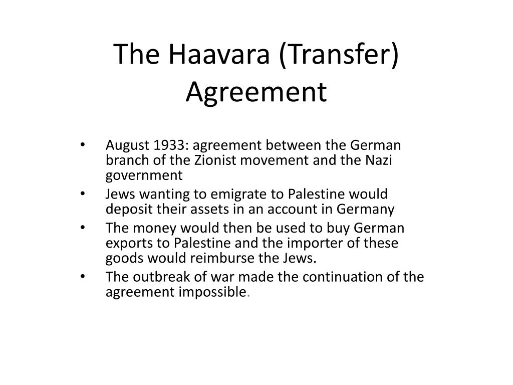 Ppt The Haavara Transfer Agreement Powerpoint Presentation Id