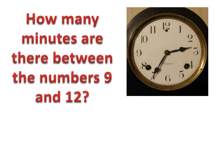How many minutes are there between the numbers 9 and 12?