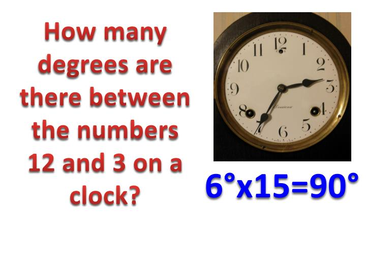 How many degrees are there between the numbers 12 and 3 on a clock?